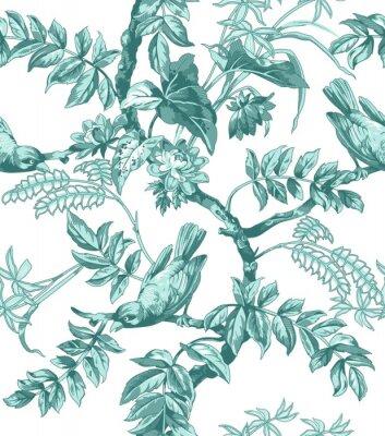 Fototapete Vögel und Blumen Nahtlose Muster