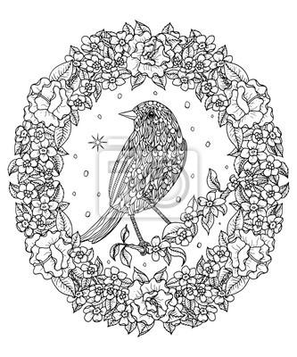 Fototapete Vogel Und Blumenkranz Malvorlage Berg Drossel Vektor Illustration