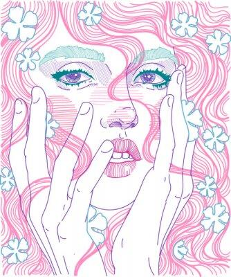 Fototapete Volles Gesicht des Gesichtes des Vektors schöne Mädchengesichtsnahaufnahme mit dem rosa Haar und den empfindlichen Blumen in der Frisur, Griffhände für Gesicht