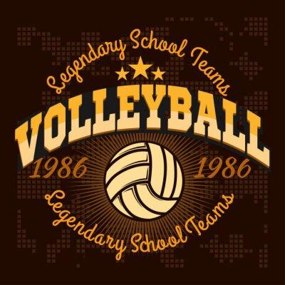 Fototapete Volleyball-Champion-Logo mit Ball - Vektor-Illustration.