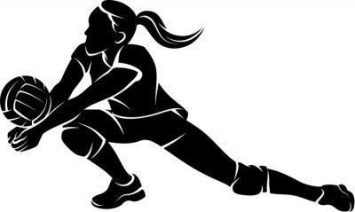 Fototapete Volleyball Dig Mädchen-Schattenbild
