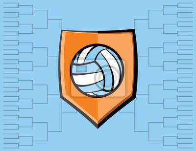 Volleyball-Emblem und Turnier-Hintergrund
