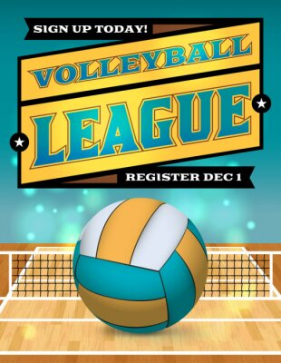 Fototapete Volleyball League Flyer Illustration