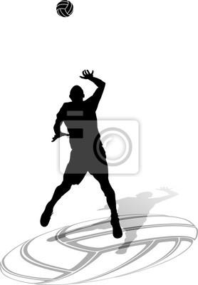 Volleyball Männlich Sihouette mit Ball zu schlagen