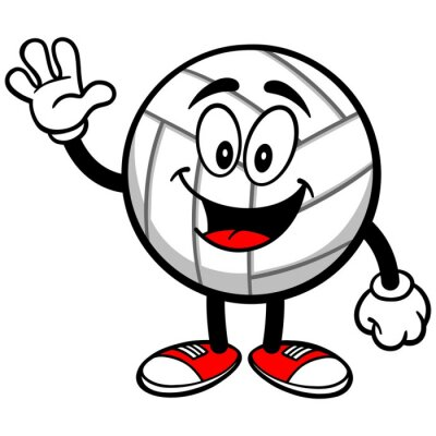Fototapete Volleyball Mascot Winken