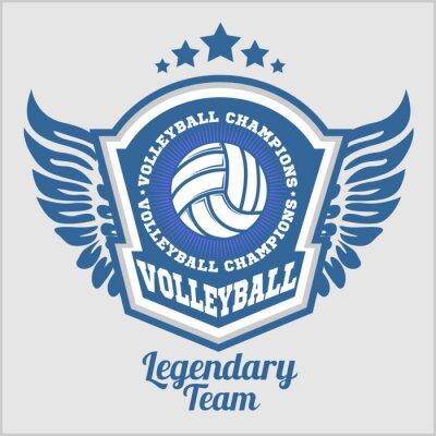 Fototapete Volleyball-Meisterschaft-Logo mit Ball. Vector Sport-Abzeichen für Turnier oder Meisterschaft