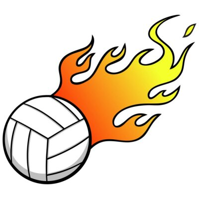 Fototapete Volleyball mit Flammen