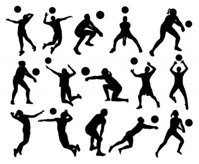 Fototapete Volleyball-schattenbilder