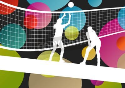 Fototapete Volleyball-Spieler Silhouetten im Sport abstrakte Vektor Hintergrund Illustration