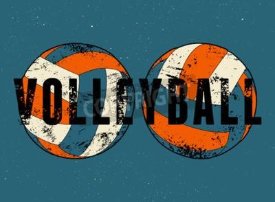 Fototapete Volleyball typografisches Vintages Schmutzartplakat. Retro-Vektor-Illustration.