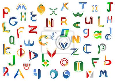 Vollständige Buchstaben des Alphabets gesetzt