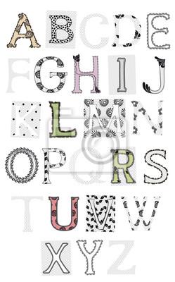 von Buchstaben gesetzt, schnüren