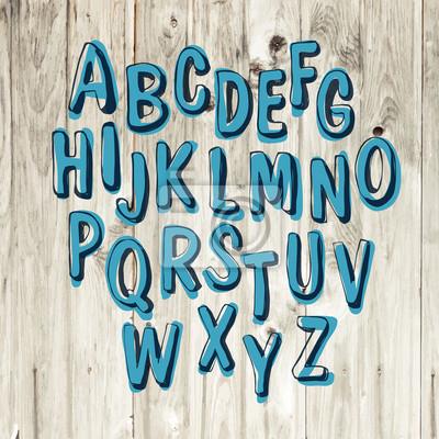 Von Hand gezeichnet Alphabet auf Holzuntergrund