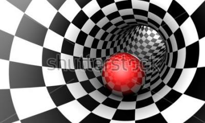Fototapete Vorherbestimmung. Rote Kugel in einem Schachtunnel (Konzeptbild). Der Raum und die Zeit. 3D Abbildung. Erhältlich in hoher Auflösung und verschiedenen Größen, um die Anforderungen Ihres Projekts zu er