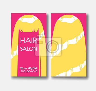 Vorlage design-karte mit langen blonden haaren auf rosa hintergrund ...