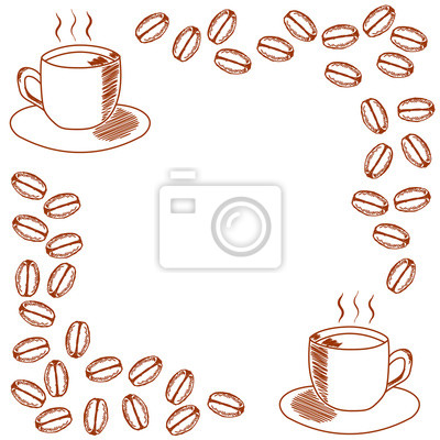 Vorlage für die einladung mit tasse kaffee und kaffeebohnen auf ...