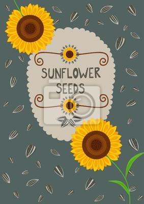 Vorlage für Sonnenblumensamen Verpackung und Etiketten