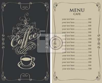 Vorlage vektor-menü für café mit preisliste und kaffeetasse mit ...