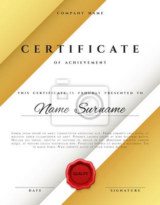 Vorlage zertifikat design in gold farbe. auszeichnung in flachem ...