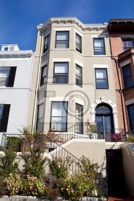 Fototapete Vorne Italienischen Stil Reihenhaus Haus, Garten, Washington DC,  USA