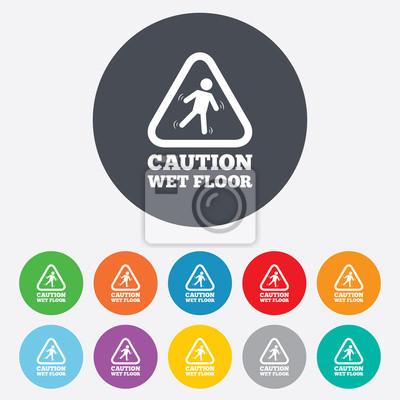 Vorsicht nassen boden symbol. menschliche fallen symbol. fototapete ...