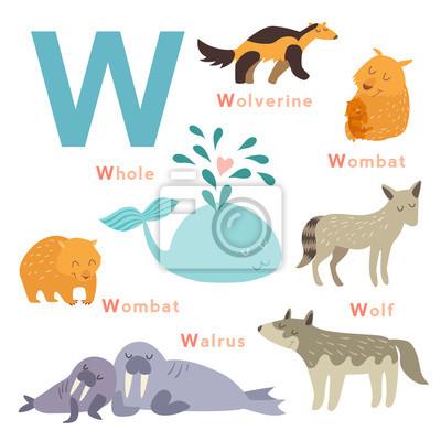 W Buchstabe Tiere gesetzt. Englisches Alphabet. Vektor-Illustration, isoliert auf weißem Hintergrund