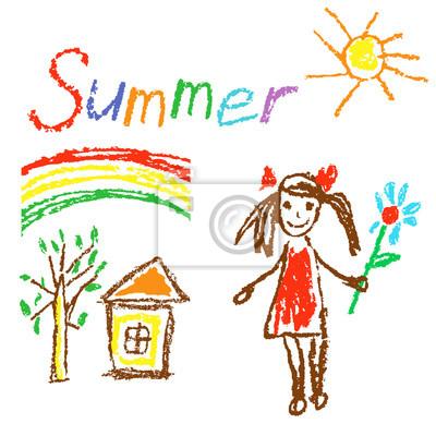 Fototapete Wachsmalstift Wie Kinder Gezeichnet Sommer Hintergrund Mit Haus