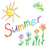 Wachsmalstift Wie Kinder Gezeichnet Sommer Hintergrund Mit Sonne Vogel Blumen Gras