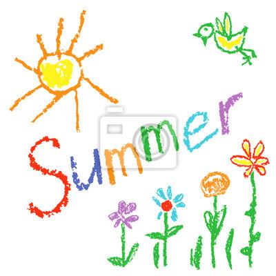 Fototapete Wachsmalstift Wie Kinder Gezeichnet Sommer Hintergrund Mit Sonne Vogel Blumen Gras