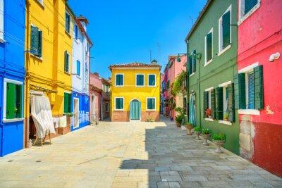 Häuser Italien wahrzeichen venedigs burano insel straße bunte häuser italien