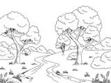 garten grafik schwarz wei landschaft skizze illustration. Black Bedroom Furniture Sets. Home Design Ideas