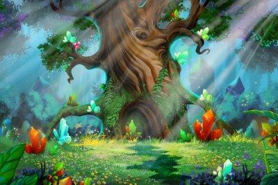 Fototapete Waldschatz. Video-Spiel's Digital CG-Grafik, Konzept Illustration, Realistische Cartoon-Stil Hintergrund