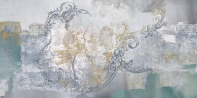 Fototapete Wall mural, wallpaper, in the style of classic, baroque, modern, rococo. Wall mural with birds and concrete grunge background. Light, delicate photo wallpaper design.