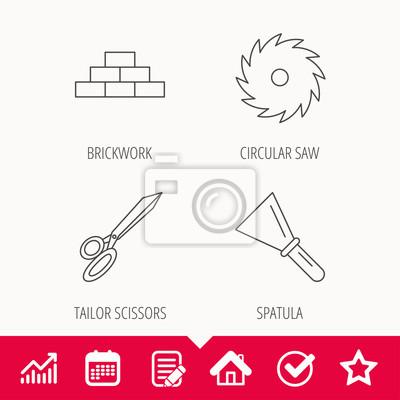 Schreiner Zeichen wand spachtel und scheren ikonen kreissäge lineare zeichen