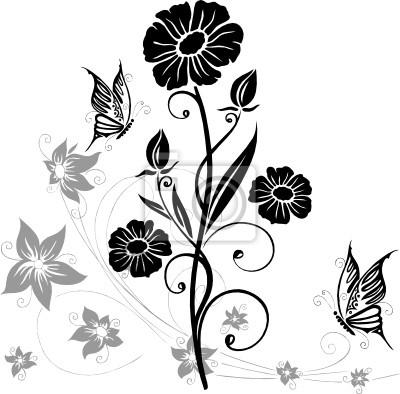 Fototapete Wandtattoo, Blumen, Blüten, Schmetterlinge, Blumen