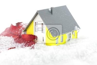 Fototapete: Wärmedämmung am haus mit schnee