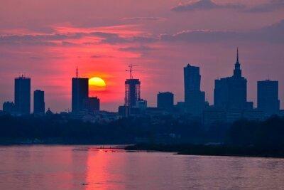 Fototapete Warsaw Downtown sunset