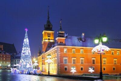 Fototapete Warschau, Schlossplatz in den Weihnachtsferien