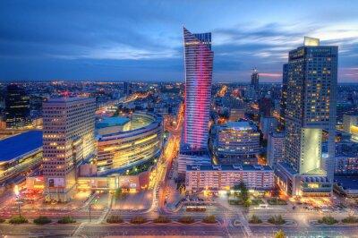 Fototapete Warszawa wieczorna panorama miasta