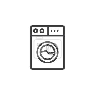 Waschmaschine Umriss Symbol Lineare Stil Zeichen Für Mobile