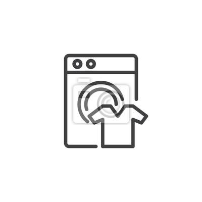 Waschmaschine Und Saubere Shirt Umriss Symbol Lineare Stil Zeichen