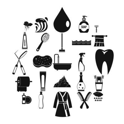 Wash-Ikonen eingestellt. Einfacher Satz von 25 Waschvektorikonen für das Netz lokalisiert auf weißem Hintergrund