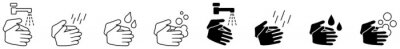 Fototapete Wash your hands icons set, simple black and white hand drawing with water tap, drop, soap bubble sign