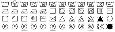 Fototapete Washing symbols set. Laundry icons. Vector illustration
