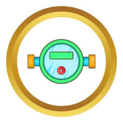 Wasser-meter-vektor-symbol im goldenen kreis, cartoon-stil isoliert ...