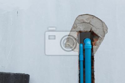 Wasser rohr pvc-sanitär unter zement wand in baustelle fototapete ...