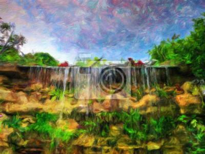Wasserfall / Ölgemälde-Fotoeffekt