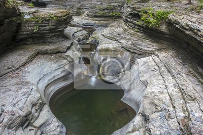 Fototapete Wasserfall Und Pool Im Watkins Glen State Park, New York