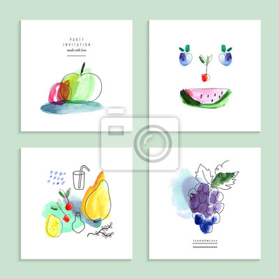 Wasserfarbe Kunst. Früchte, Beeren. Satz von vier kreative Karten.