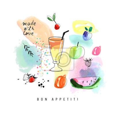 Wasserfarbe Kunst. Smoothie mit Beeren und Früchten.